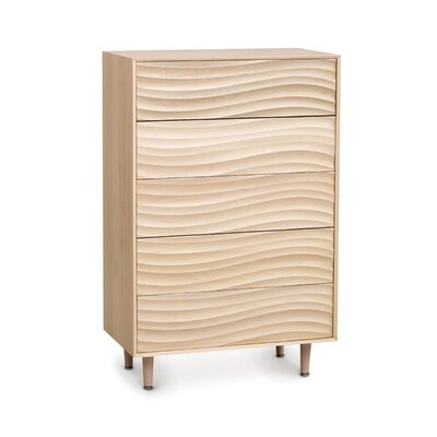 Wave 5 Drawer Chest with Wooden Legs Frame Color: Natural Walnut