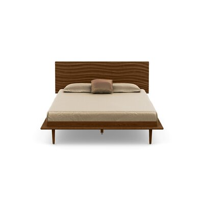 Wave Platform Bed Size: King, Color: Natural Walnut, Leg Material: Wood