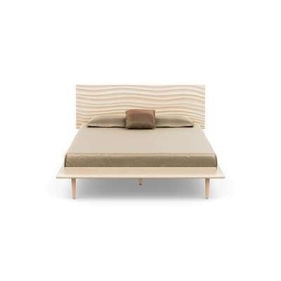 Wave Platform Bed With Mattress Size: Queen, Color: Parchment Maple, Leg Material: Wood