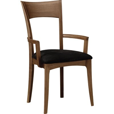 Ingrid Solid Wood Dining Chair Upholstery Color: Ebony, Leg Color: Natural Walnut