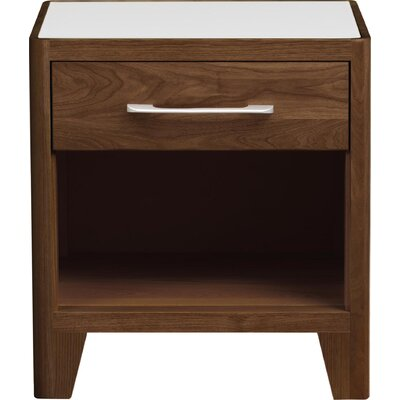 Contour 1 Drawer Nightstand Color: Natural Walnut, Top Material: Glass, Base Material: Solid Walnut
