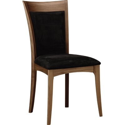 Morgan Genuine Leather Upholstered Dining Chair Upholstery Color: Coffee, Leg Color: Natural Walnut