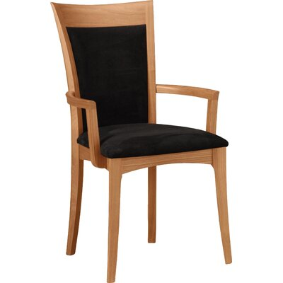 Morgan Genuine Leather Upholstered Dining Chair Upholstery Color: Ebony, Leg Color: Cognac Cherry