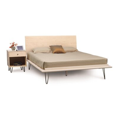Canvas Platform Bed Size: King, Color: Parchment Maple, Leg Material: Wood