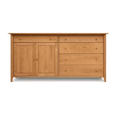 Sarah Sideboard Configuration: 4 Drawers on Right, 1 Drawer over 2 Doors on Left, Color: Saddle Cherry