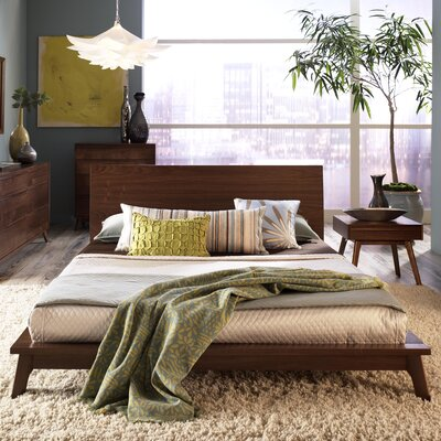 Catalina Platform Bed Size: King, Finish: Natural Walnut