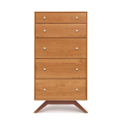 Astrid 5 Drawer Chest Color: Cognac Cherry