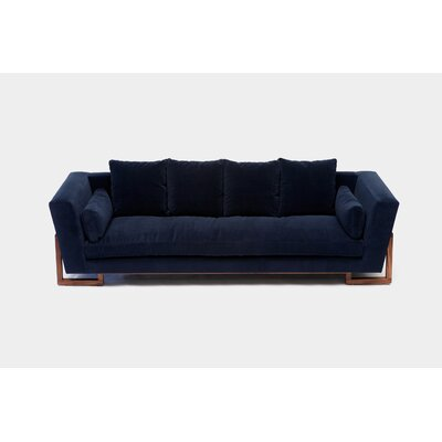 LRG Sofa Upholstery: Deep Blue Aged Velvet, Finish: Walnut, Accessories: No Trays