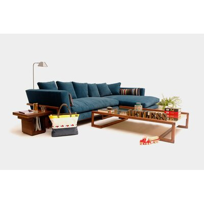 Lrg Reversible Sectional Upholstery: Linen Blend Smoke