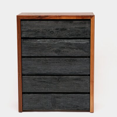 SQR 5 Drawer Lingerie Chest Color: Solid Walnut and Reclaimed Wood