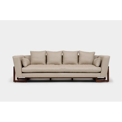 LRG Sofa Upholstery: Hopsack Linen Blends, Finish: Walnut, Accessories: No Trays