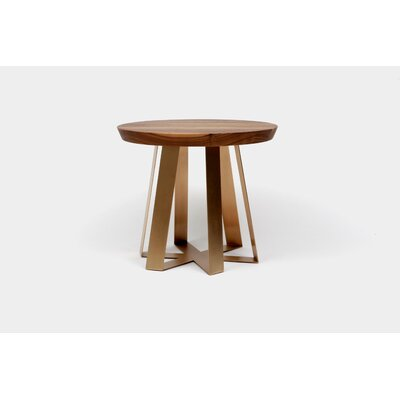 ARS End Table Top Finish: Walnut, Base Finish: Aged Bronze