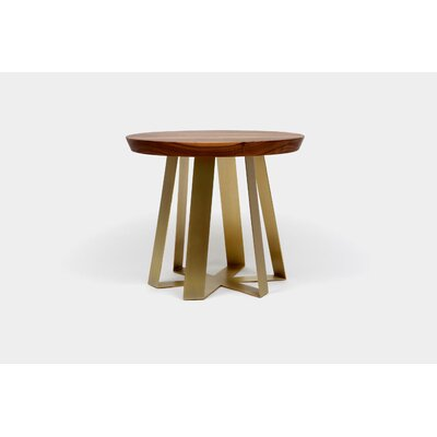 ARS End Table Top Finish: Walnut, Base Finish: Brass