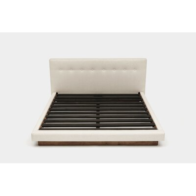 Upholstered Panel Bed Color: Petrol Linen Blends, Size: Queen