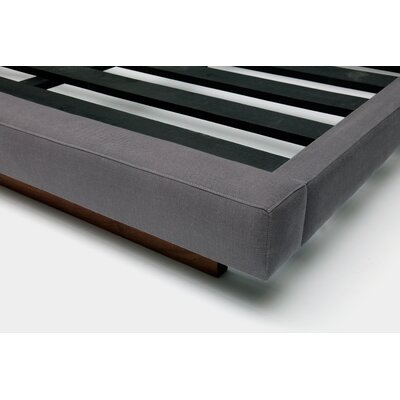 Upholstered Panel Bed Color: Smoke Linen Blends, Size: King