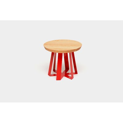 ARS End Table Base Color: Red, Top Color: Oak