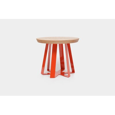 ARS End Table Base Color: Orange, Top Color: Oak