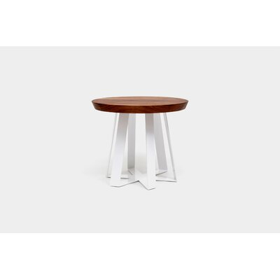 ARS End Table Base Color: White, Top Color: Walnut