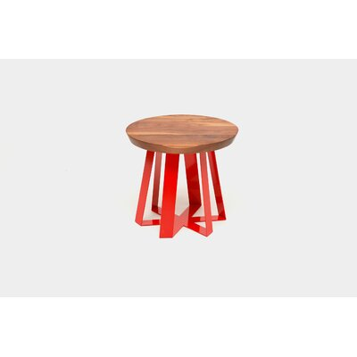 ARS End Table Base Color: Red, Top Color: Walnut