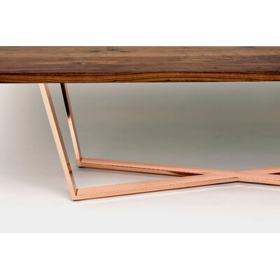 GAX X Dining Table Size: 108 L x 48 W, Finish: Walnut and Copper