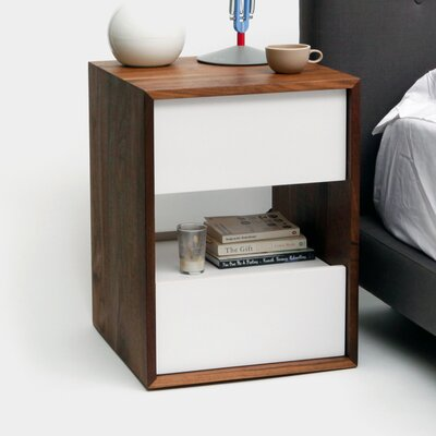 THN 2 Drawer Nightstand Color: White