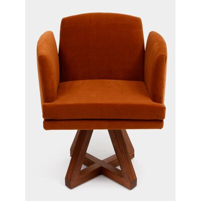 Allison Swivel Base Upholstered Dining Chair Upholstery: Cognac
