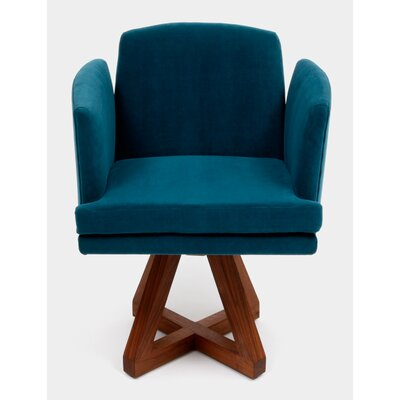 Allison Swivel Base Arm Chair Upholstery: Peacock