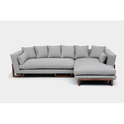 Sectional Upholstery: Eggshell Aged Velvet, Orientation: Left Hand Facing