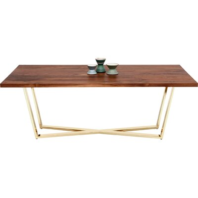 GAX X Dining Table Size: 96 L x 42 W, Finish: Walnut and Brass