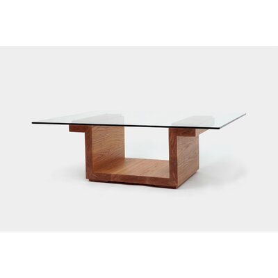 Sqg Coffee Table Color: White Oak, Size: 42 x 30 Glass Top