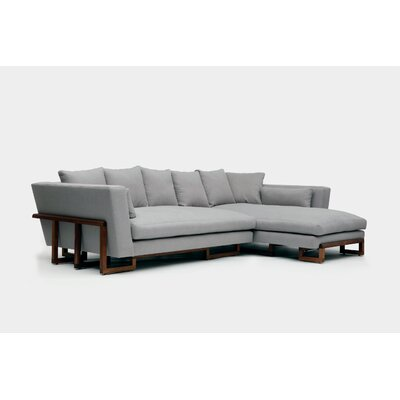 Sectional Upholstery: Ash Linen Blend, Orientation: Right Hand Facing