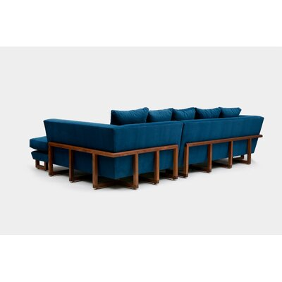 Sectional Upholstery: Deep Blue Aged Velvet, Orientation: Right Hand Facing