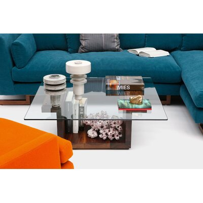 Sqg Coffee Table Size: 28 x 28 Glass Top, Color: Walnut