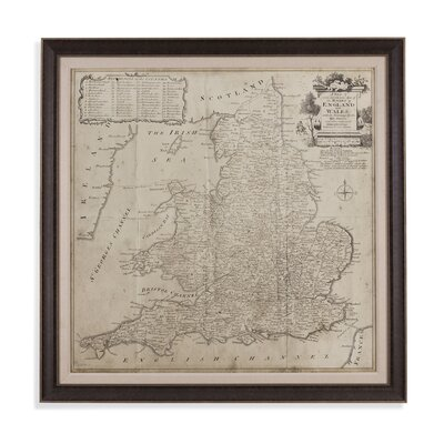 Road Map Of England And Wales Framed Graphic Art