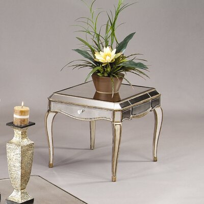 Cheap Bassett Mirror Collette Rectangular End Table in Antique Gold (BMR1146)