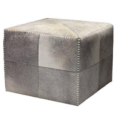 Cross Stitch Leather Ottoman