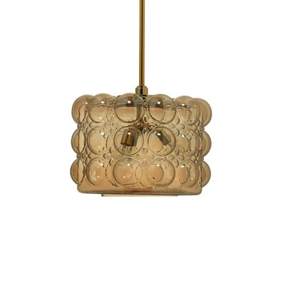 Small Cici 3-Light Drum Pendant Base Finish: Brass, Shade Color: Gold Carnival