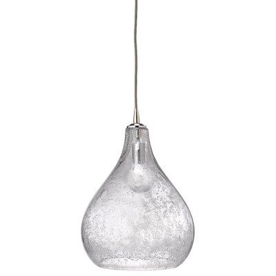 Curved 1-Light Mini Pendant Size: Large, Color: Clear Seeded Glass