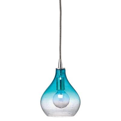 Curved 1-Light Mini Pendant Size: Small, Color: Gradient Aqua Glass
