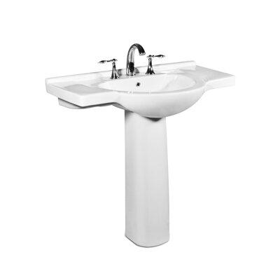 Palermo Ceramic 34 Pedestal Bathroom Sink with Overflow