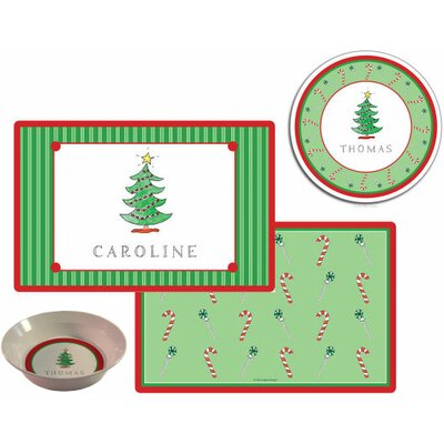 The Kids Tabletop 3 Piece Christmas Tree Placemat Set