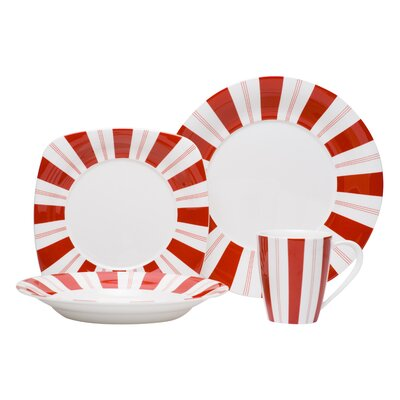 Tuxedo Rouge 16 Piece Dinnerware Set FP011-016