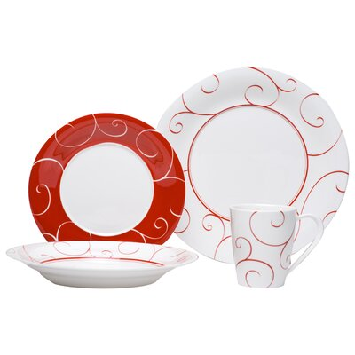 Panache Rouge 16 Piece Dinnerware Set FP012-116