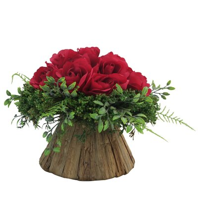 Rose Centerpiece in Planter Flower Color: Red