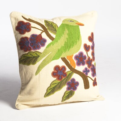 Crewel Bird Embroidery Wool Throw Pillow