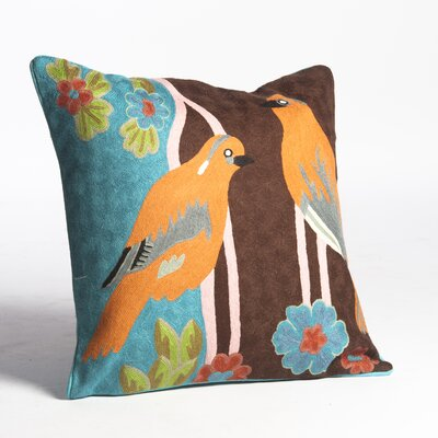 Crewel Pair of Birds Embroidery Wool Throw Pillow