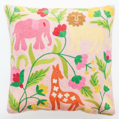 Crewel Pastel Jungle Embroidery Wool Throw Pillow