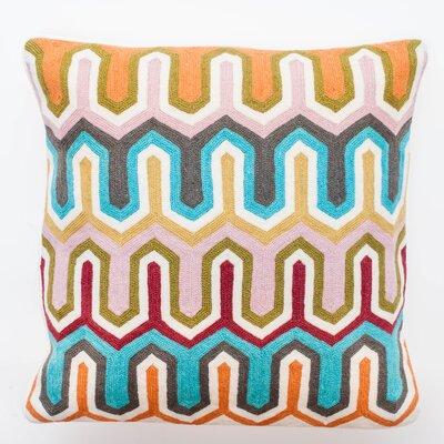 Crewel Geometric Embroidery Wool Throw Pillow