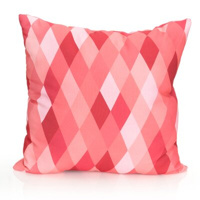 Harlequin Outdoor Throw Pillow Size: 26 H x 26 W x 2 D, Color: Coral