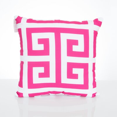 Greek Key Outdoor Throw Pillow Size: 26 H x 26 W x 2 D, Color: Fuchsia